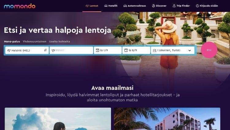 Momondo - vertaa lennot ja hotelli netissä